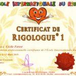 Certificat de Cécile FOREST, Rigologie niveau 1