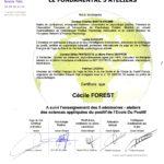 Attestation de Cécile FOREST pour le Cycle fondamental des ateliers de sens appliquées du positif de Rennes